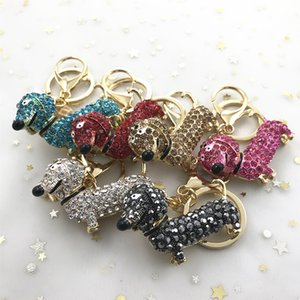 DHL-Dachshund Keychain Diamond Cell Phone Accessories Straps Charms Universal 6 Colors Key Ring Car Key Bling Bling