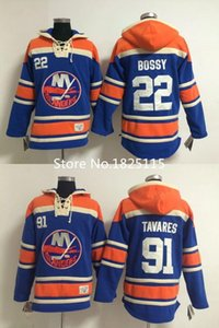 2016, New York Islanders Hockey Jerseys 91 John Tavares Hoody Blue 22 Mike Bossy Pullover Hoodie Sweatshirt