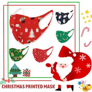 Yetişkin Çocuk Yıkanabilir Noel Partisi Maskeler Moda 3D Baskılı Noel Baba Şapka Şeker Elk Buz İpek Maskeler Çocuk Cadılar Bayramı Yeniden kullanılabilir Yüz Maskesi