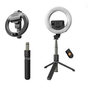 L07 Selfie-Stick mit 5-Zoll-LED Selfie Ringlicht mit Stative Ständer Folding Stativ Selfie für Makeup Live Stream