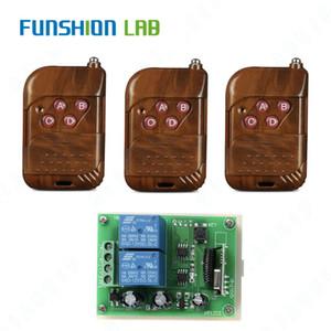 Funshion 433MHz Universal Remote Receiver Relé de Comutação Controle DC12V 2 CH RF Module + 433Mhz controle remoto sem fio interruptor Portão