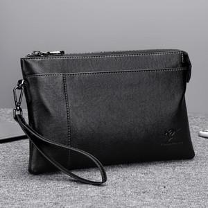 Mens сцепление сумка из мягкой кожи Повседневной большой емкости портфель сцепления сумка Бизнес Конверт Сумка на заказ Logo