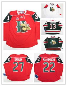 Halifax Mooseheads 13 Nico Hischier 22 Nathan Mackinno Broderie de Jersey de hockey Nathan Mackinno cousu personnaliser n'importe quel nombre et nom de jerseys hockey jersey