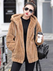 Faux Rex Rabbit Fur Coat Femminile 2019 New Winter manica lunga coreana allentato peluche spessa con cappuccio Felpa Jacket per le donne f2084 T200506