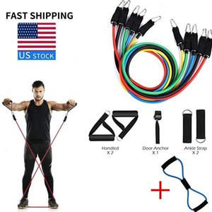 11 штук сопротивление Напряжение полосы CrossFit Альпинизм защита тренажерного зал йог тренировка упражнение + один ПК 8-образный тросовой