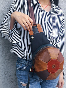 1607# New style cowhide lady bag new style splicing earphone hole lady chest bag fashion retro single shoulder hat bag
