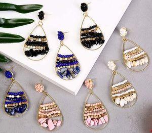 Bohemia Natural Stone Geometric Beads Earrings Ms. Creative Handmade Woven Ear Pendant00