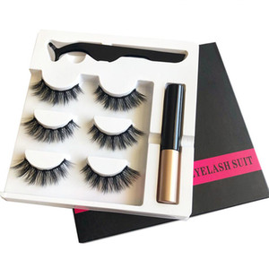 5d Magnetic Eyelashes Faux Mink Magnet Lashes Extension Liquid Eyeliner&magnetic False Eyelashes & Tweezer Set Faux Cils