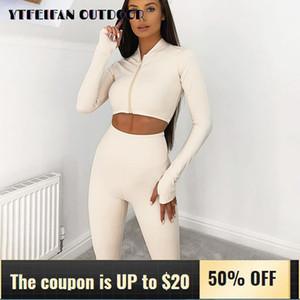 Çalıştırmak için Kadınlar 2 Adet Set Dikişsiz Uzun Kollu Sıkı Üst ve Tozluklar Katı Tracksuit için Fitness Spor Suit 2020 Suits