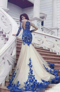 Gorgeous Royal Blue And White mermaid prom dresses Illusion Long Sleeves Appliques Tulle Lace Saudi Arabic Plus Size Evening Gowns