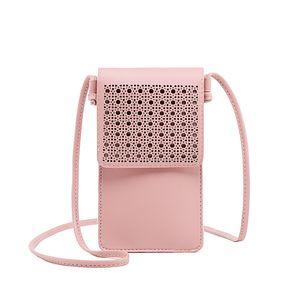 Miyahouse Mini Umhängetaschen Art und Weise Frauen-Kupplungs-aushöhlen Telefon-Beutel-Mappen-Klappen-Touchscreen-Telefon-Umhängetasche