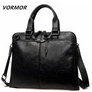 VORMOR Brand Men bag Casual mens briefcase 14 inch laptop Handbag shoulder bag PU leather mens office bags 2019