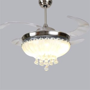 Rose Ceiling fan Light 42 inch 108cm LED crystal living room ceiling lamp 85-265V Silvery Dimming remote control fan Lig