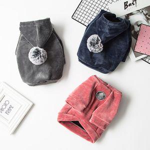 Simple Solid Color Pet Hoodies Cute Teddy Bulldog Schnauzer Outerwears Fashion Winter Warm Pet Dog Coats