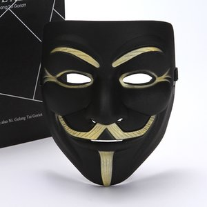 mascherina di faida bianco giallo mascherina mascherine Anonymous Guy Fawkes Fancy costume adulto Halloween Masquerade V maschere per Halloween FWB1269