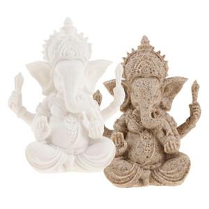 la teinte grès hindouiste Ganesha buddha ornement éléphant sculpture statue dieu décoration figurine fengshui 4-5inch