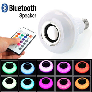 RGBW Smart LED Light E27 Wireless Bluetooth Speaker 12W RGB Bulb LED Lamp 110V 220V Music Player Audio with Remote Speaker For Iphone PC