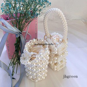 JH Korean Style Ladies White Transparent Sack Hand -Woven Wedding Pearl Bag Handbag Shoulder Messenger Bucket Bag New Women &#039 ;S Bags
