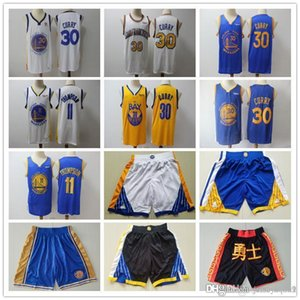 Dorado para hombreEstadoGuerrerosRetroceso Jersey Klay 11 Thompson Stephen 30 Curry Basketball Shorts Basketball Jerseys Black Black