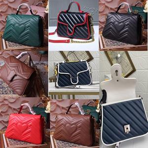2020 classique Marmont ondulé grand sac à main messager d'épaule flip sac postier cuir noir pleine thkG #