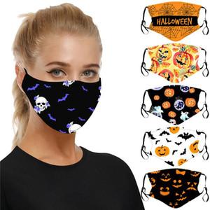 6 stile Halloween Pumpkin Stampato volto maschera di teschio PM2.5 protezione regolabile Orecchio-ciclo Maschera riutilizzabile lavabile Mask DHE454 all'ingrosso