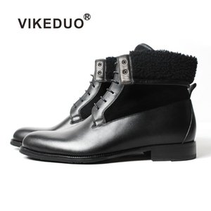 Vikeduo 2020 Handmade Black Classic Male Boot Fashion Casual Luxury Heel Genuine Leather Shoes Ankle Snow Winter Fur Men Boots