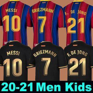 FC BARCELONE maillot de football 20 21 camiseta de futbol ANSU FATI 2020 2021 Messi Griezmann DE JONG Maillots de foot shirt Homme + kit enfants