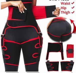 Nouveau 3 en 1 Femmes Hot Sweat Slim Cuisse Trimmer jambe Shapers taille Push Up Entraîneur Pantalon en néoprène Fat Burn Heat Compress Ceinture amincissante