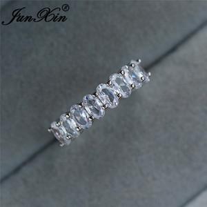 Kadın Tek Sıra Kristal Oval Alyans Kadınlar Gümüş Renk Minimalist İstifleme İnce Yüzük Band nişan yüzüğü Takı için