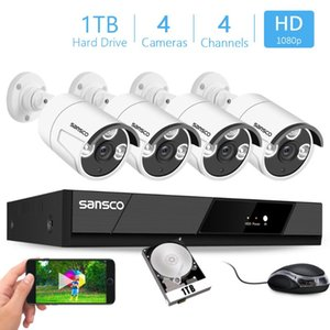 Sansco H.265 4CH 2MP POE Security Camera System Kit Record IP Camera IR Outdoor Waterproof CCTV Video Surveillance NVR Set