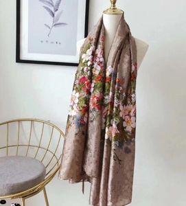 Горячий Дизайнер шелковый шарф пашмины для женщин высокого качества бренда Осень Классический дизайн Цветочные Длинные шарфы шеи Wrap 180x90Cm Шали D948