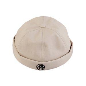 Neuheit Baumwolle Schwarz Stickerei Falten Skullcap Weinlese-Seemann-Cap Watermelon Hat Bucket Cap Krempe Hüte für Männer Adjustable