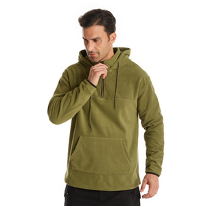 Hot Sale Latest Quality Custom Fashion Polar Fleece Mens Fur Faux Pure Color Hoodie And Pocket