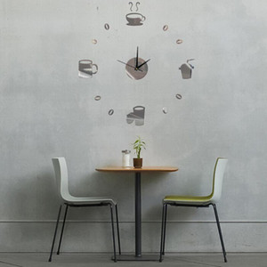 Delicate Coffee Cups Living Room Office Wall Sticker Mirror Surface Decorations Interesting Art Clock Design Stereoscopic DIY