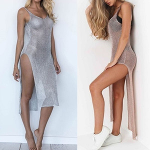 Women Sexy Summer Sunscreen Sheer Mesh Bikini Cover Up Metallic Solid Color Backless High Slit Beach Club Party Sleeveless Dress