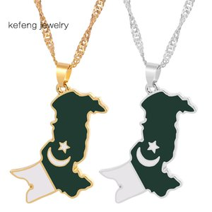 Pakistan Karte Flag-hängende Halsketten-Silber-Farbe / Gold Farbe Pakistani Ethnic Hals Schmuck Halskette