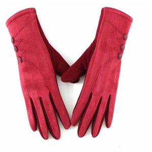 Ms qiu dong season touch screen saver warm gloves bike ride wind proof and fluff ball PU leather gloves ST-030