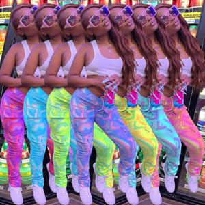 Wholesale Women Leggings Fashion Tie Dye Long Pants Multi-color PrintSlim Tooling Pocket Ladies New Personalise Pants Trousers DHL