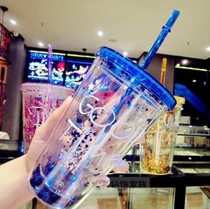 The latest 15.2OZ plastic cup 4 colors summer straw cup comes with lid, glitter cup, supports custom logo, free shipping