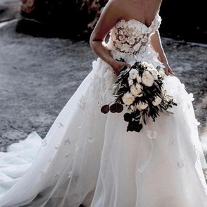 White Boho Wedding Dress A-Line Sweetheart with 3D Flowers Pearls Beaded Floral Wedding Gown robe de soirée de mariage