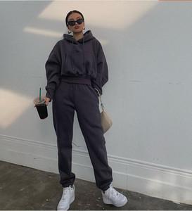 Otoño Invierno Streetwear basculadores de las mujeres Conjunto 2 piezas con capucha para niños pantalones de dos piezas de chándal de lana Equipos pantalón