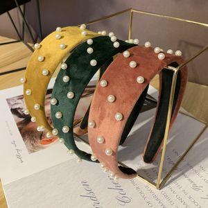 2020 Moda Velvet Acessórios Pérolas Hairband Headband For Women Broadside Design Faixa do cabelo elegante estilo coreano cabeça Buckle