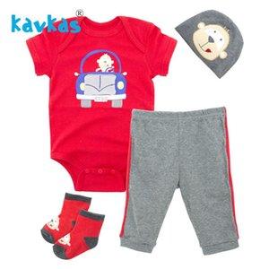 Kavkas Newborn Baby Romper Car Racing Printing Infant Boys Clothing Set Sweatshirt Pants Sock Hat Summer Infantile Costume Girls