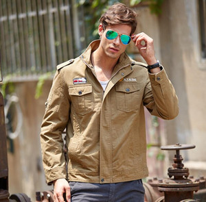 top autumn patchwork Embroidered eagle man cotton jacket army green multi pocket stand collar Men's Outerwear zipper flight Coats