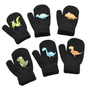 Мальчики Зимние перчатки сгущаться грелка ватки вязания перчатки Симпатичные 1-5Y младенца мультфильм Динозавр Pattern Конструкторы Бобби Дети перчатки F91101