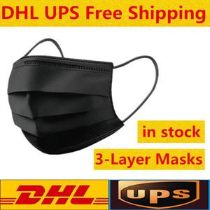 Maschere DHL UPS di trasporto del nero a gettare la maschera di protezione di protezione a 3 strati con maschere Earloop Bocca Volto Sanitari all'aperto
