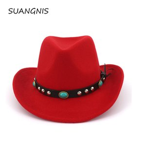 2020 new Wide Brim Western Cowboy Jazz Hat Cap Men Women Wool Felt Fedora Hats Exquisite belt accessories Decorated party Cap