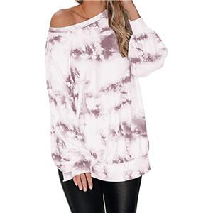 5-Farben-Frauen Langarm-Shirt neuen Tie-Dye-Gradienten Farbe Rundhals Laterne Hülse mit Seitenschlitz weg von der Schulter beiläufigen losen Pullover