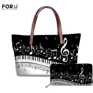 FORUDESIGNS Music Note Design Casual Women Handbags Large Capacity Beach Bag for Ladies Piano Print Tote Bags Bolsa Feminina