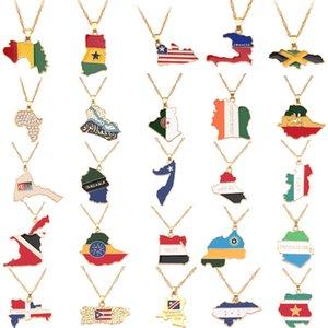 Handgemachte Land auf Karte Flaggen-Halskette Frauen Amerikanisches Frankreich Spanien Kanada Mexiko Brasilien Anhänger Gold Halskette Man Schmuck